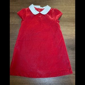 Janie and Jack Red Velvet Dress with White Collar